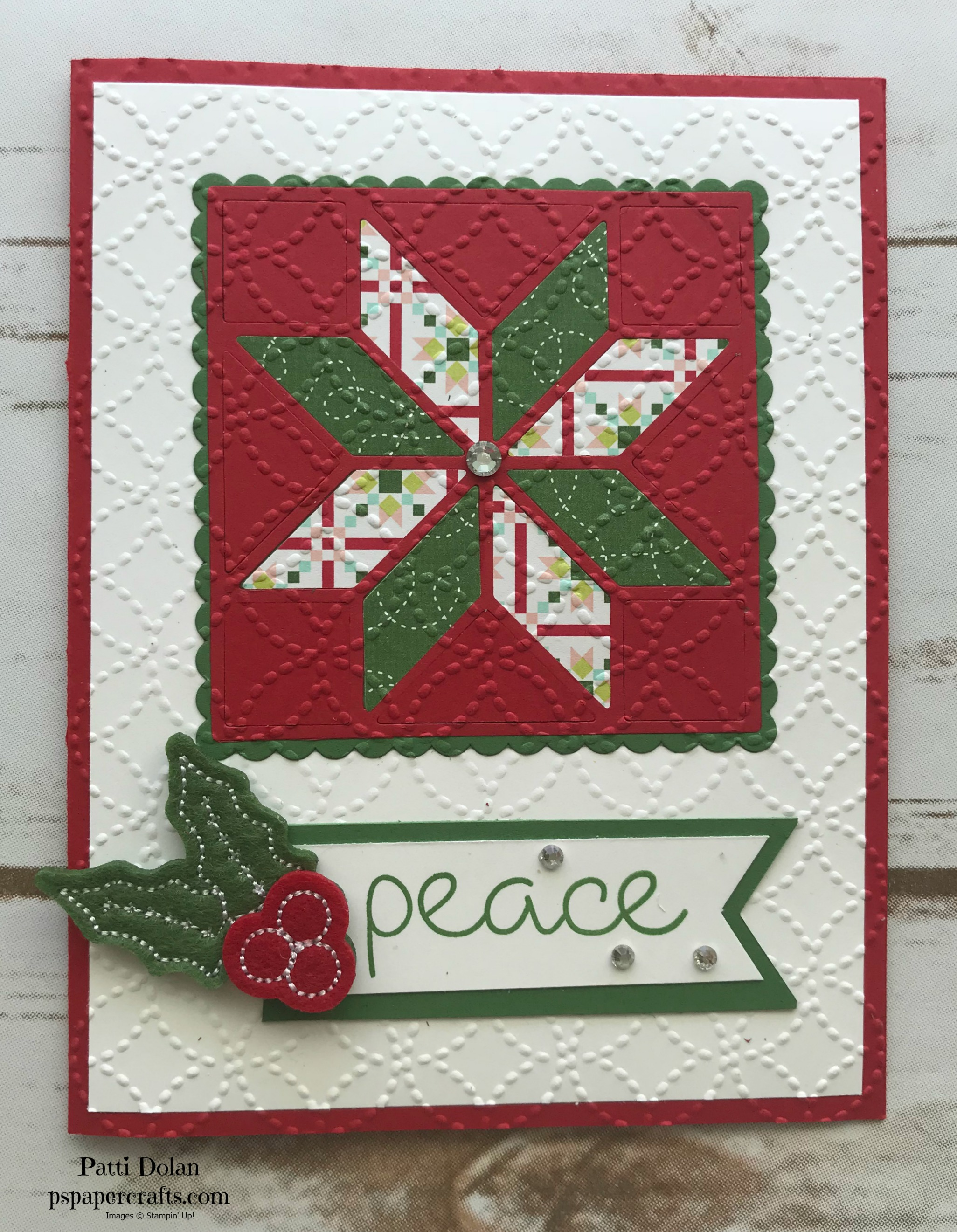 This card has the Real Red base and Garden Green sentiment with the holly embellishment.
