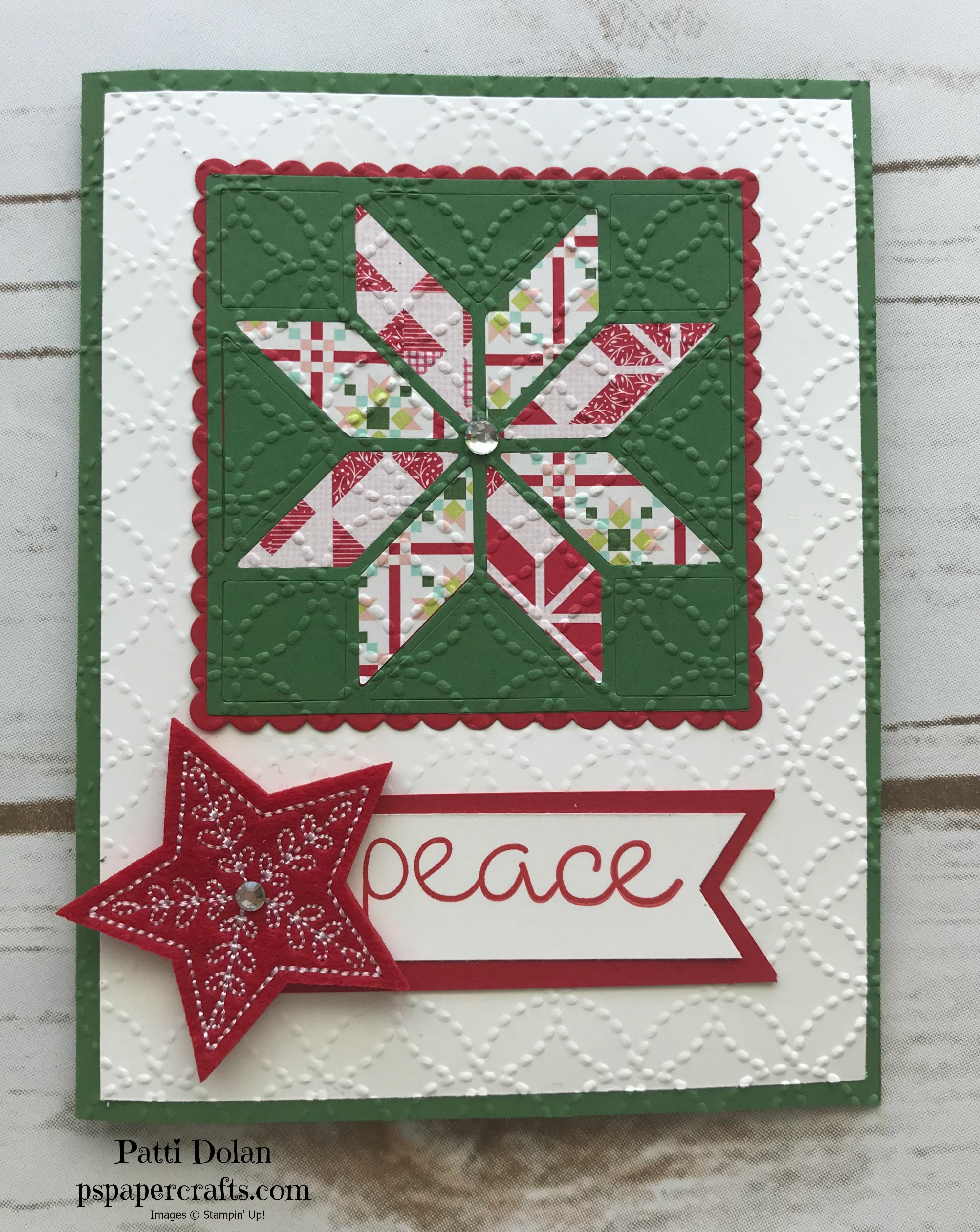I used a Garden Green card base and the Real Red sentiment with the Star embellishment.