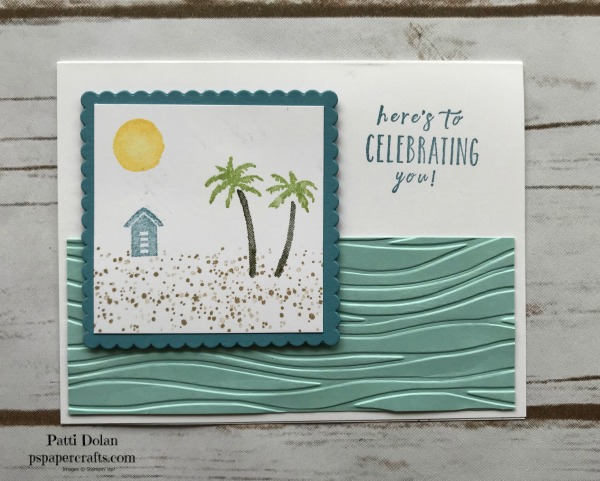 The sentiment for this card is from the Perennial Birthday Stamp Set in the Occasions Catalog. I used the de-bossed side of the Pool Party strip to give it a different look.