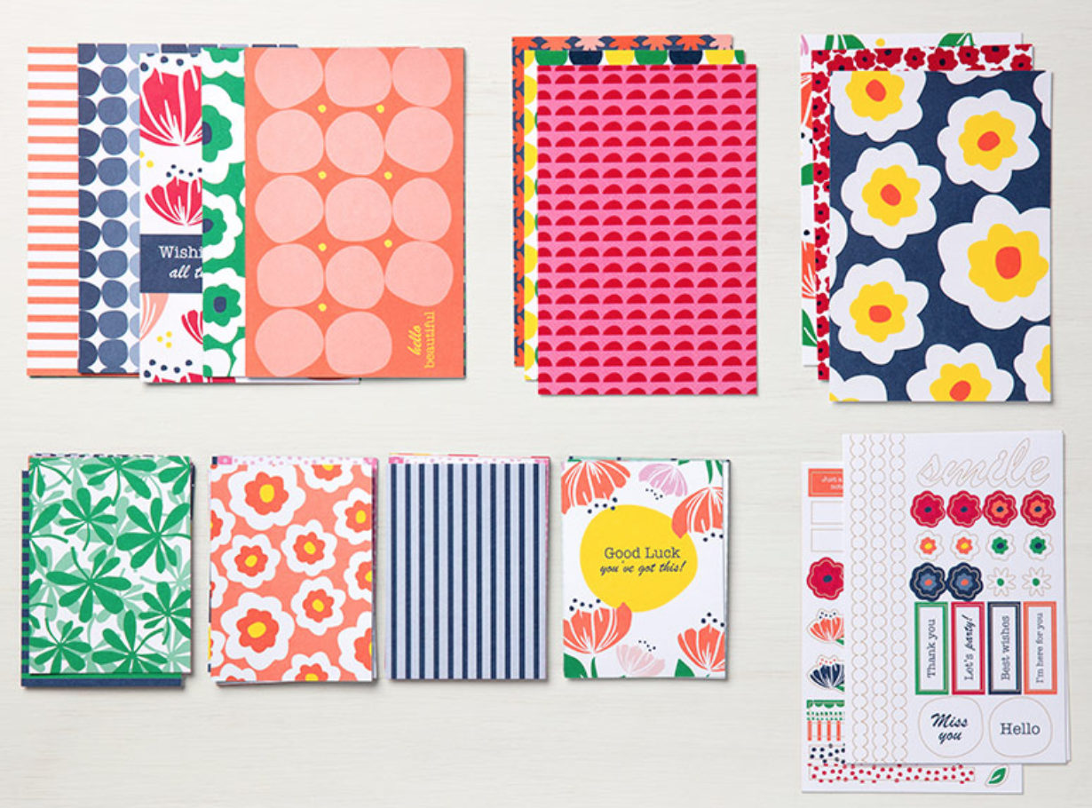 """This kit makes memory keeping a snap. Just adhere to a card front from the Happiness Blooms Memories & More Cards & Envelopes for instant cards.  * 50 total double-sided cards (2 each of 25 designs) in 3"""" x 4"""" (7.6 x 10.2 cm) and 4"""" x 6"""" (10.2 x 15.2 cm) sizes * 6 single-sided 4"""" x 6"""" (10.2 x 15.2 cm) specialty cards * 4 sticker sheets  Coordinating colors: Call Me Clover, Calypso Coral, Night of Navy, Lovely Lipstick, Pineapple Punch, white"""