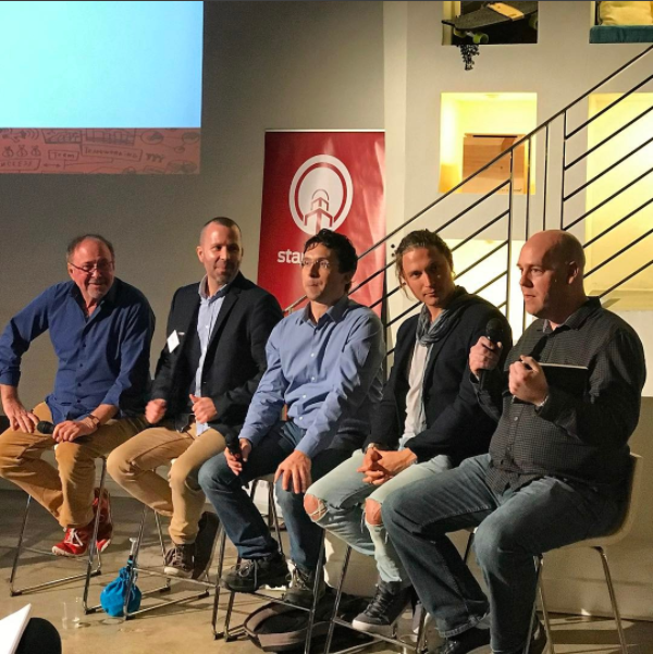 Panelists (From left to right):  Shel Israel, Dirk Wallace, Matthias Pusch, Elijah Allan-Blitz and John Lucchetti.