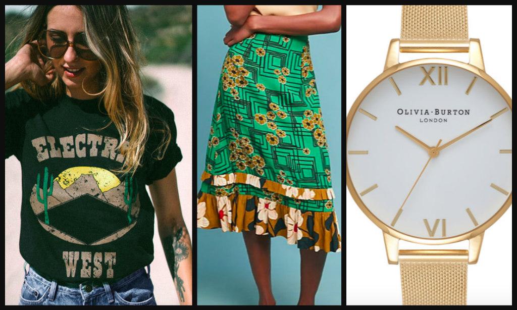 Tee $45  /  Skirt $281  /  Watch $150