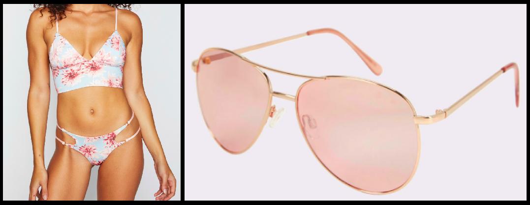 Bikini Top:  $105  / Bikini Bottom:  $85 / Sunglasses:  $16
