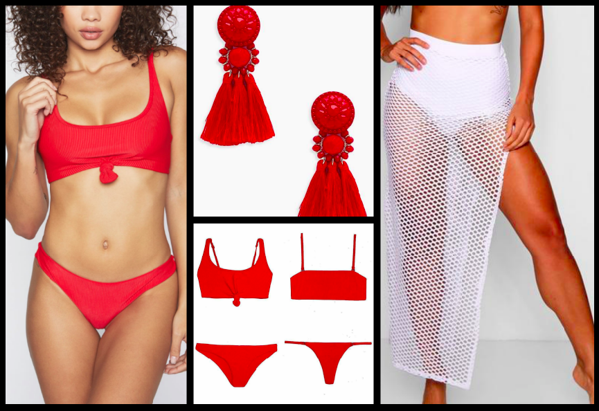 bikini top:  $90 / Earrings:  $8  / bikini bottom:  $80  / Beach Skirt:  $12
