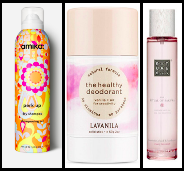 From left to right: Amika Dry Shampoo:  $25  / LAVANILLA Deodorant:    $14  / Rituals Cherry Blossom Body Mist:  $25
