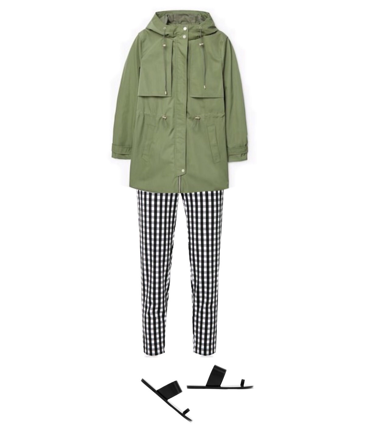 Jacket:  $74  / Pants:  $88  / Sandals:  $185