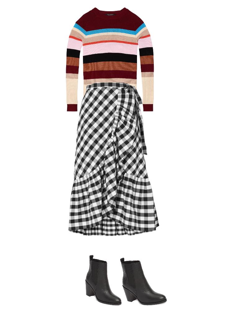 Sweater:  $74  / Skirt:  $190  / Boots:  $188