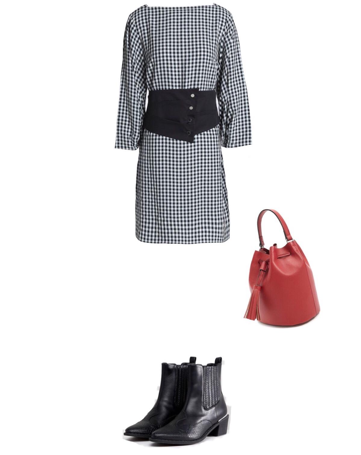 Dress  / Boots:  $56  / Bucket Bag:  $11