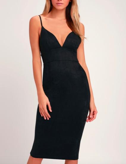 Black Suede BodyCon Dress