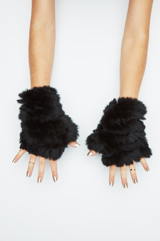 Black Mandy Mittens By Jocelyn Fur