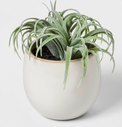 Faux Succulent in White Pot