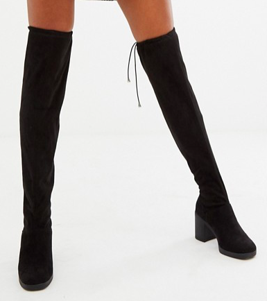 New Look Over The Knee Chunky Heeled Boot