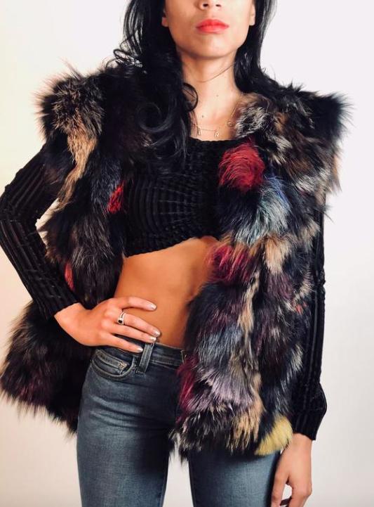 Dani Black Multi Fox Fur Parka by Ava and Kris