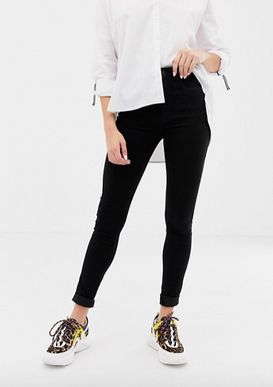 high waist skinny jean in black