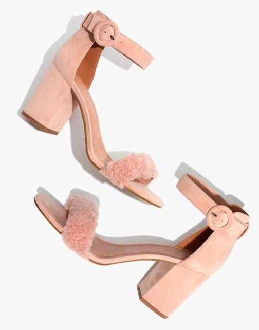 Regina Ankle-Strap Shearling Sandal