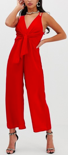 Petite jumpsuit with tie front and wide leg