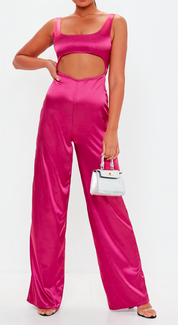 pink cut out satin jumpsuit