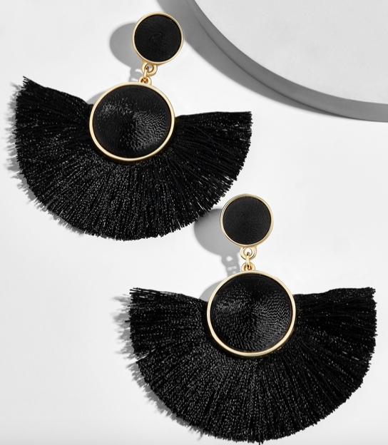 MARINELLA FRINGE DROP EARRINGS-BLACK