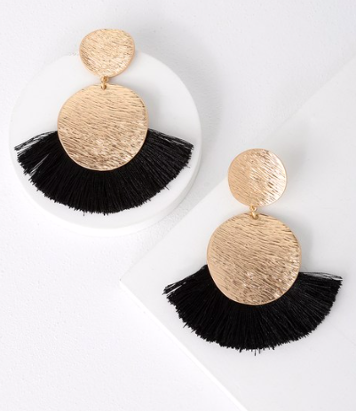 HUGE FAN GOLD AND BLACK FRINGE EARRINGS