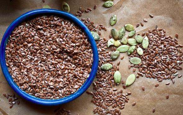 Flax and pumpkin seeds. Via  The Herbal Academy