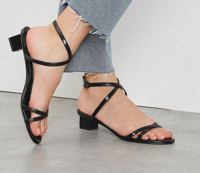 Black Criss Cross Low Heel Sandals  $39