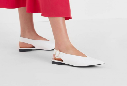 White V-Cut Slingback Flats  $39