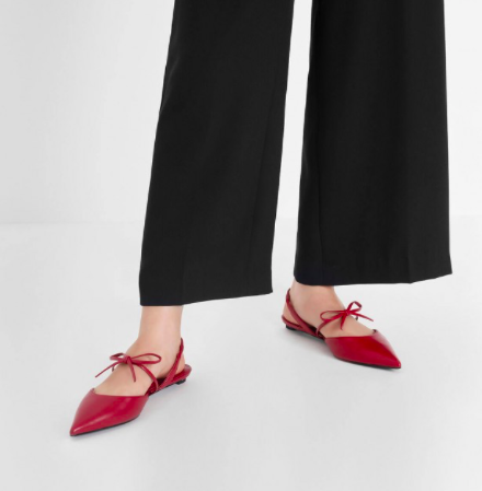 Red Bow Strap Slingback Flats  $39