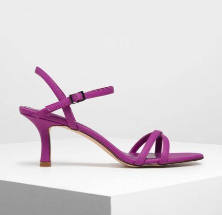 Fuchsia Criss Cross Blade Heel Sandals  $49