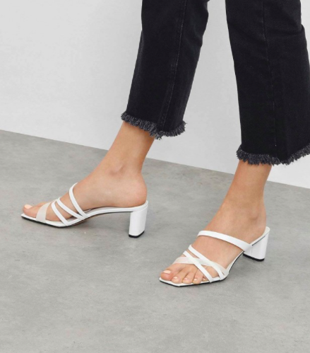 White Strappy Open Toe Mules  $49