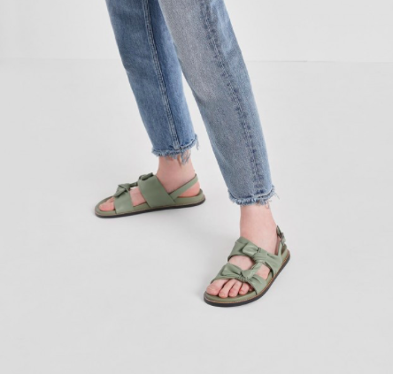 Sage Green Double Knotted Slingback Sandals  $49