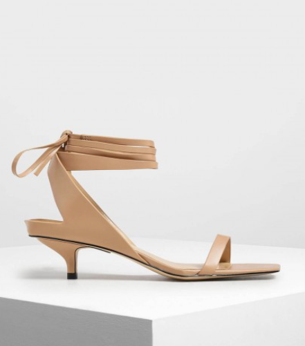 Nude Ankle Tie Square Toe Sandals  $39