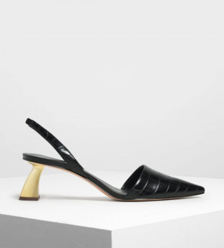 Black Sculptural Heel Slingback Pumps  $49