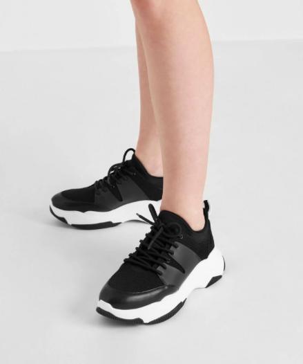 Black Chunky Mesh Sneakers  $59