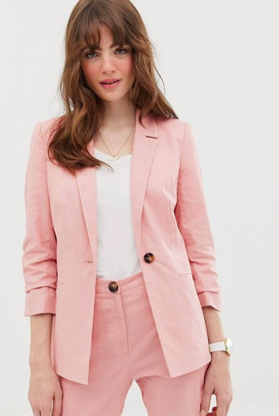 linen blazer with ruched sleeve ($64)