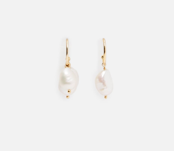Natural Colored Pearl Hoop Earrings