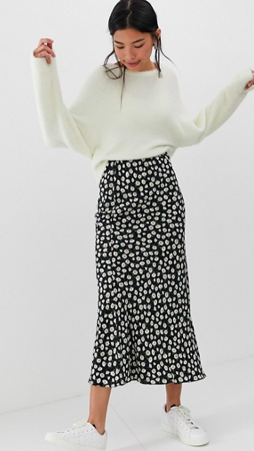 daisy print bias cut maxi skirt $51