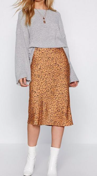 Spotty Check Satin Midi Skirt $24