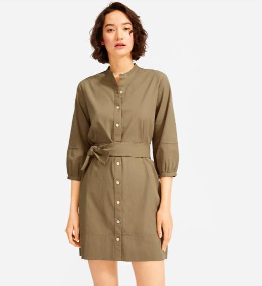 Cotton Weave Collarless Shirtdress  $78