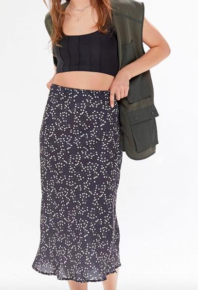 UO Rowan Satin Slip Skirt  $59