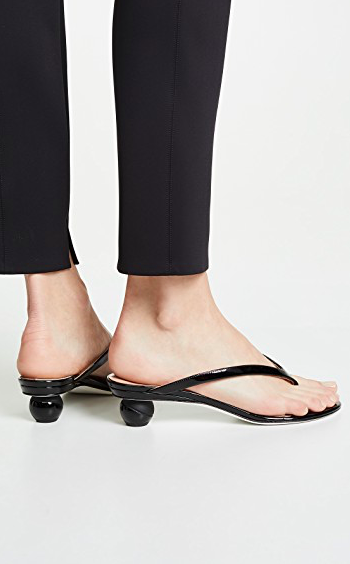 Fun shaped heels are also on trend right now. Alchimia di Ballin Vernice Thong Sandals  $247