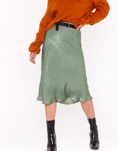 Touch by Touch Satin Midi Skirt,  $20