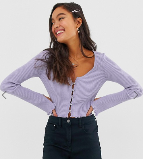Button Front Cardigan with Scoop Neck, $35