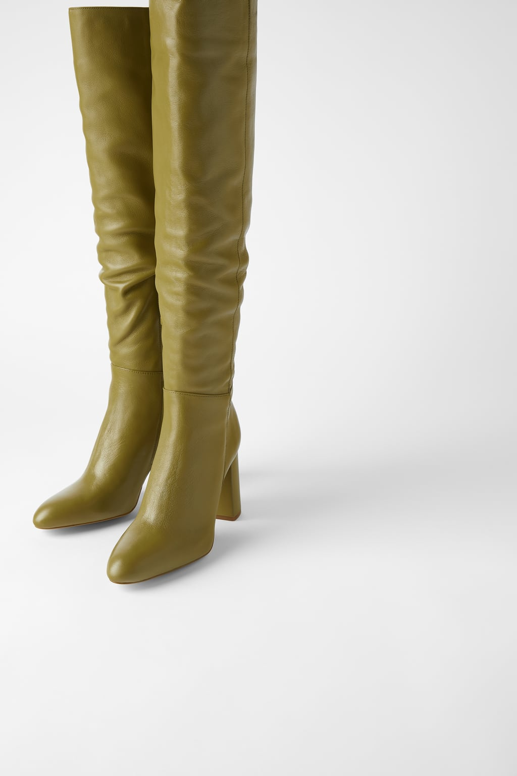 High Leg Leather Heeled Boots, $199