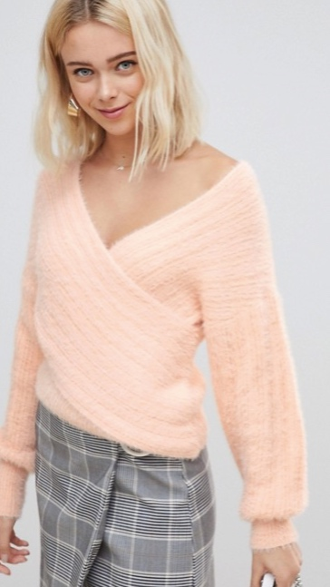 Asos DESIGN drape wrap sweater, $45