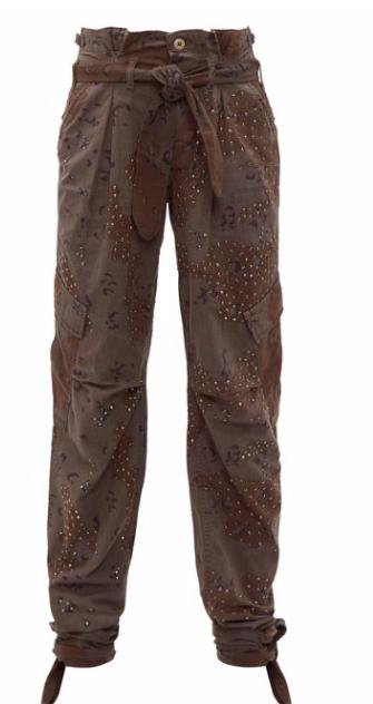 Camouflage-print crystal-stud cargos, $4,375