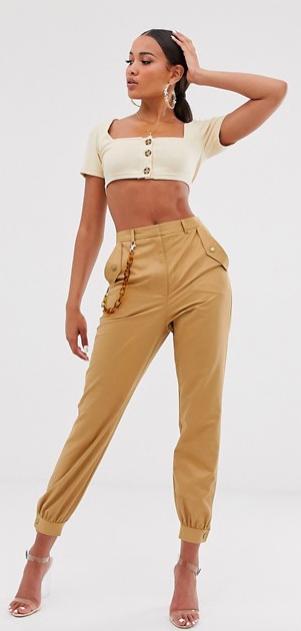 chain detail slim cargo pants, $56