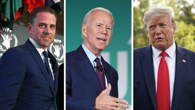Hunter Biden, Trump, Joe Biden - via  BBC News