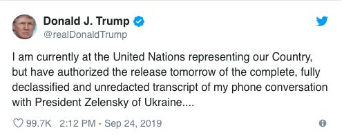 Tweet from Donald Trump, Sept. 24, 2019