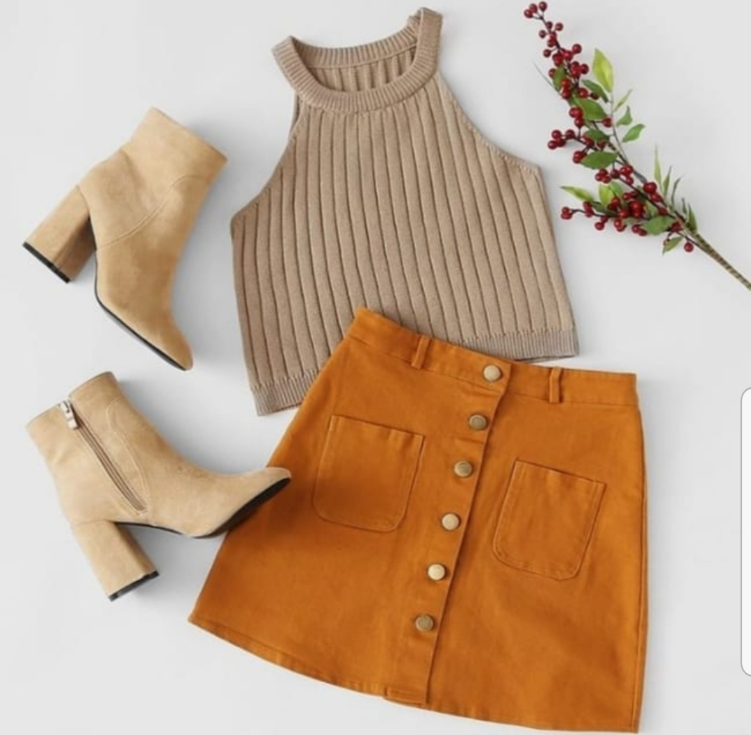 SHOP THE LOOK:  Button Front Faux Suede High Waist Skirt -  $17  / Charles David Niche Booties -  $258  / Knit Ribbed Crop Top  $13