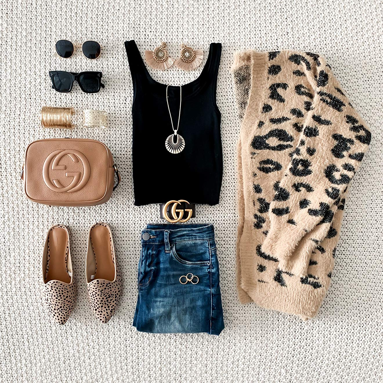 SHOP THE LOOK:  Retro Oversized Square Sunglasses,  $12.99  / Besteel 2 Pcs Cuff Bangle Bracelet Set,  $15  / Reflective Lens Round Trendy Sunglasses,  $14  / Leopard Print Button Down Long Sleeve Soft Loose Knit Sweater Cardigan,  $28